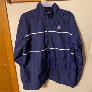 Adidas nylon zip up navy jacket large women's